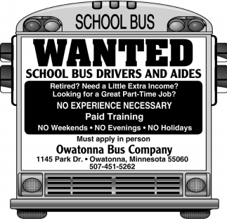 Wanted School Bus Drivers and Aides