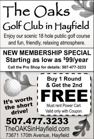 Ads For The Oaks Golf Club in Southern Minn