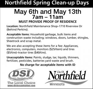 Northfield Spring Clean-up Days