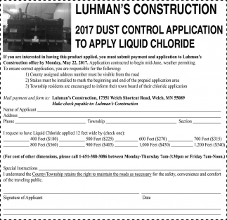 2017 Dust control application to apply liquid chloride