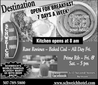 Open for breakfast 7 days a week!