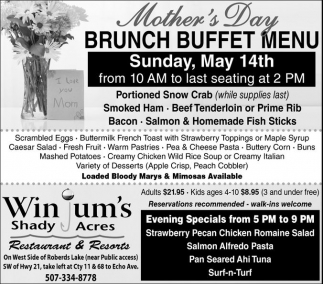 Mother's Day Brunch Buffet Menu