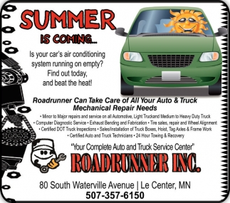 Roadrunner Can Take Care of All Your Auto & Truck Mechanical Repair Needs