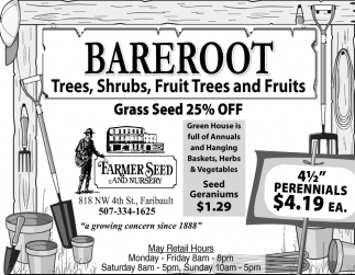 Trees, Shrubs, Fruit Trees and Fruits