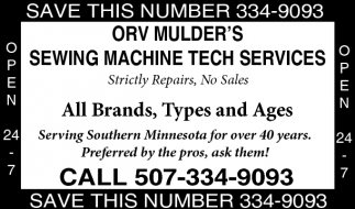Ads For Orv Mulder's Sewing Machine Tech Services in Southern Minn