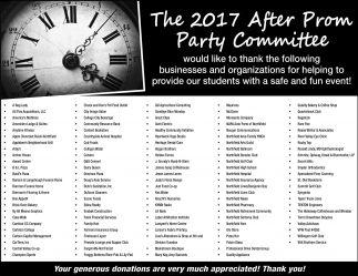 The 2017 After Prom Party Committee, Northfield High School, Northfield, MN
