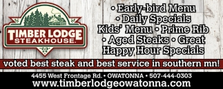 Voted best steak and best service in southern mn