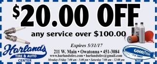 $20.00 off, Harland's Tire and Auto Center, Owatonna, MN