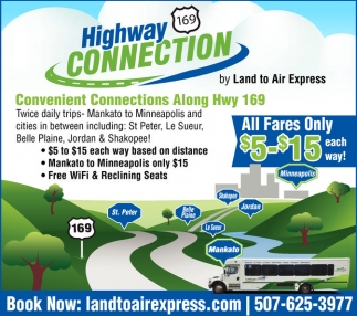 Convenient Connections Along Hwy 169, Land to Air Express, Mankato, MN