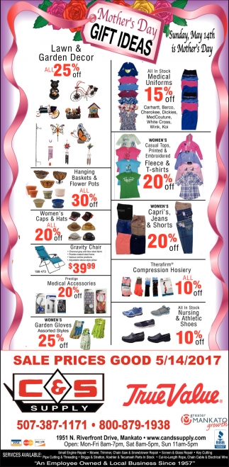 Mother's Day Gift Ideas, C and S Supply, Mankato, MN