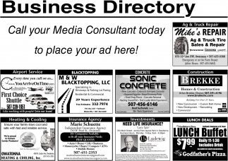 Call your Media Consultant today to place your ad here!