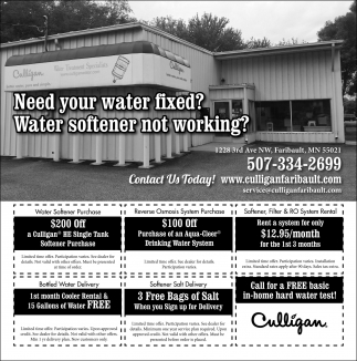 Need your water fixed? Water softener not working?