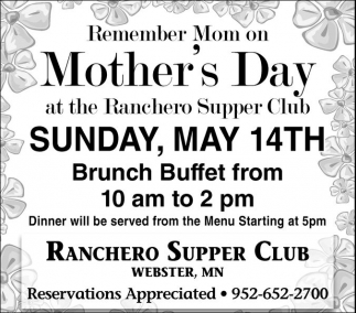 Mother's Day, Ranchero Supper Club, Webster, MN