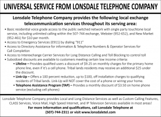 Universal Service form Lonsdale Telephone Company, Lonsdale Telephone and Lonsdale Video Ventures, Lonsdale, MN