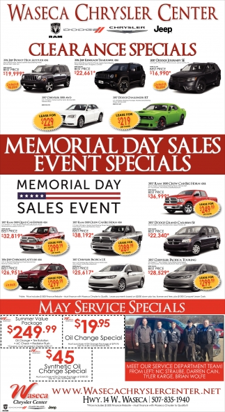 memorial day sales event specials waseca chrysler center waseca mn. Black Bedroom Furniture Sets. Home Design Ideas