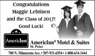 Congratulations Maggie Lehtinen and the Class of 2017! Good Luck!