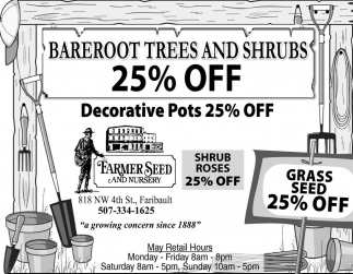 Bareroot Trees and Shrubs 25% off