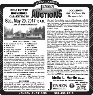 Real Estate Household Car-Antiques, Jensen Auctions, Owatonna, MN