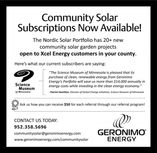 Community Solar Subscriptions Now Available!