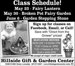 Class Schedule!
