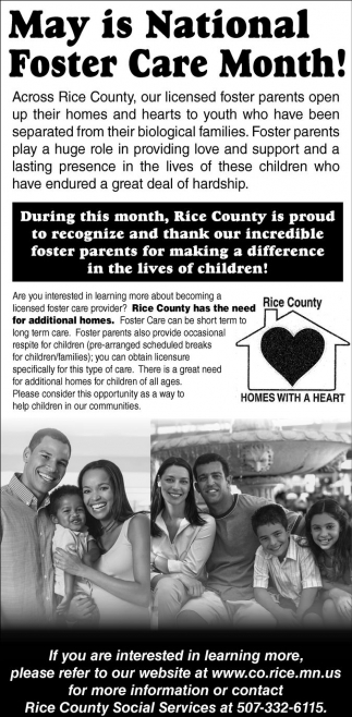 May is National Foster Care Month!, Rice County Social Services, MN