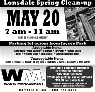 Lonsdale Spring Clean-up, Waste Management, Northfield, MN