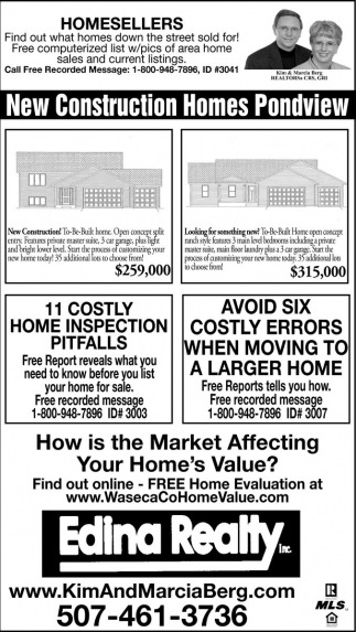 New Construction Homes Pondview