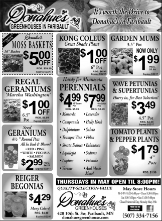 Ads For Donahue's Greenhouse in Southern Minn