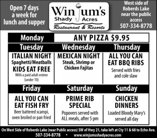 Open 7 days a week for lunch and supper