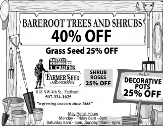 Bareroot Trees and Shrubs 40% off