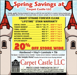 carpet castle llc | 20% off store wide | home & garden ads from le