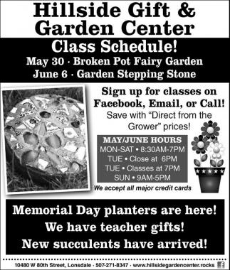 Hillside Gift and Garden Center Class Schedule Home