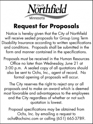 Request for Proposals, City of Northfield, Northfield, MN