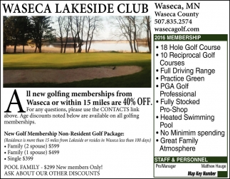 Your number one option for a round of golf in Waseca, Waseca Lakeside Club, Waseca, MN