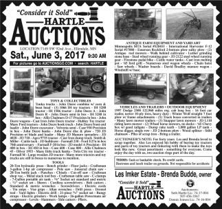 Toys, Collectibles, Tools, Antique Farm Equipment, Vehicles and Trailers, Hartle Auctions