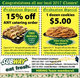 Ads For Subway in Southern Minn