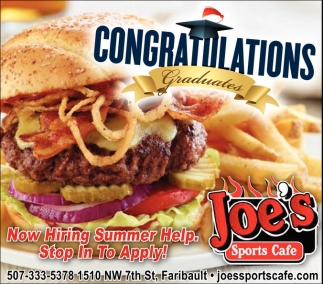 Ads For Joe's Sports Cafe in Southern Minn