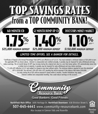 Top Savings Rates, Community Resource Bank, Northfield, MN