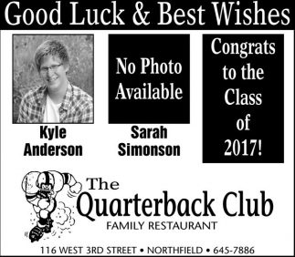 Good luck & best wishes!, The Quarterback Club, Northfield, MN