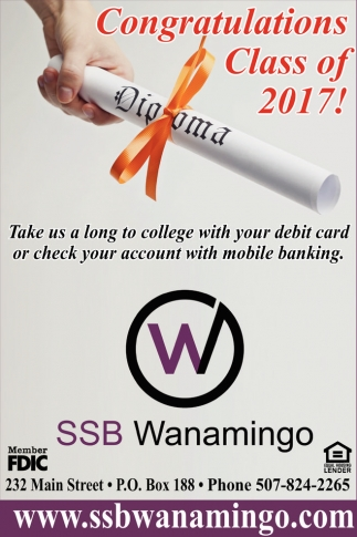 Congratulations Class of 2017!, Security State Bank of Wanamingo, Wanamingo, MN