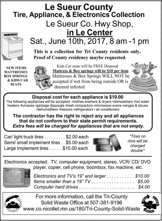 Le Sueur County: Tire, Appliance & Electronics Collection