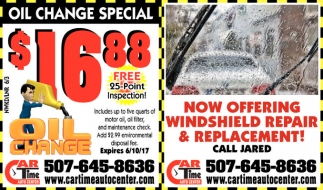 Now Offering Windshield Repair & Replacement