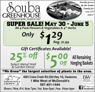 Super Sale! May 30 - June 5
