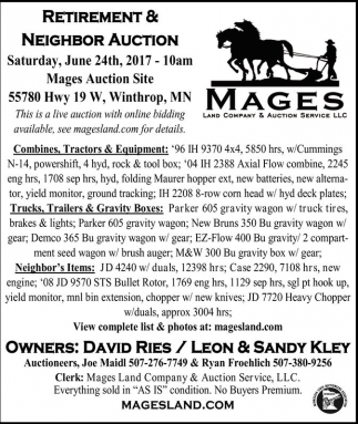Retirement & Neighbor Auction, Mages Land Company and Auction Service, Winthrop, MN
