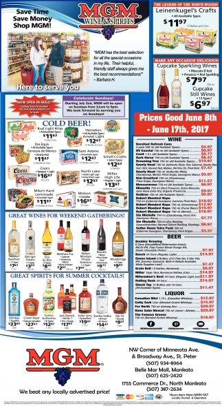 Prices Good June 8th - June 17th, 2017, MGM Wine and Spirits, Saint Paul, MN