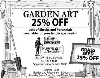 Garden art 25% off
