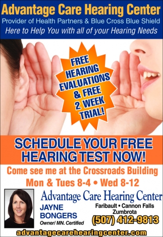 Free hearing evaluations & free 2 week trial!, Advantage Care Hearing Center, Faribault, MN