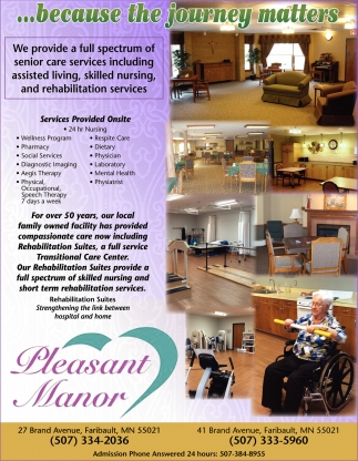 Ads For Pleasant Manor Senior Living in Southern Minn