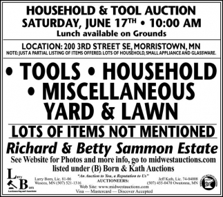 Ads For Born and Kath Auctions in Southern Minn