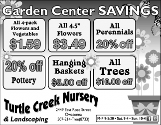 Garden Center Savings